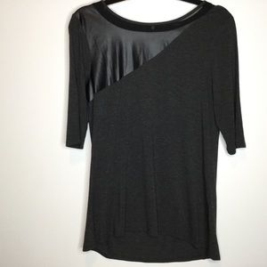 Cupio Top Faux Leather Charcoal Gray Size Medium